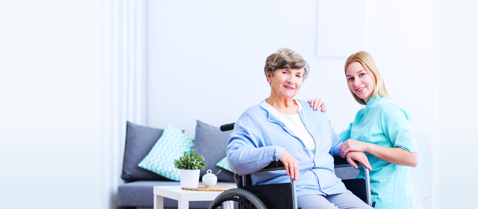 senior woman on a wheelchair smiling